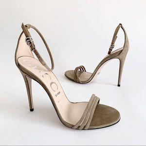 ⭕️ GUCCI Sandals Suede 110 Heels Beige Nude GG 8